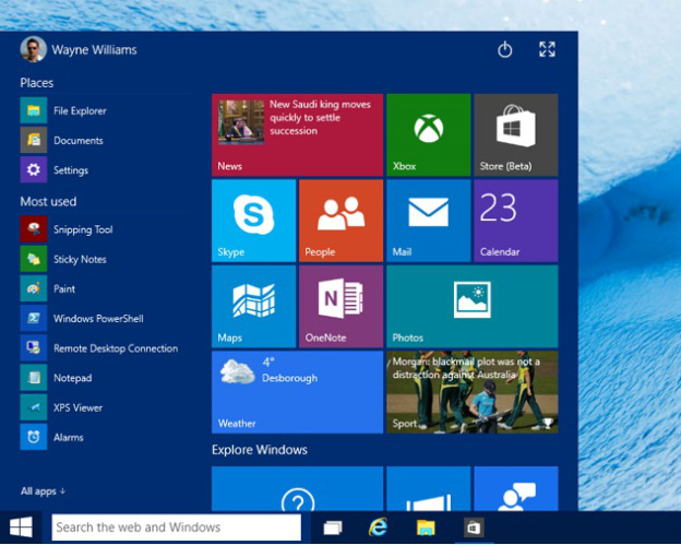 windows 10-start-menu