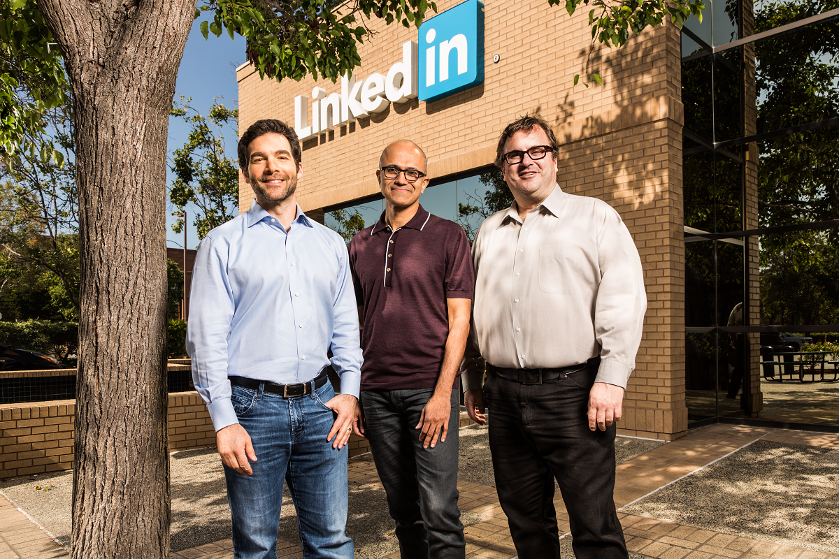From left: Jeff Weiner CEO of LinkedIn, Satya Nadella, CEO of Microsoft, Reid Hoffman, chairman of the board, co-founder and controlling shareholder of LinkedIn